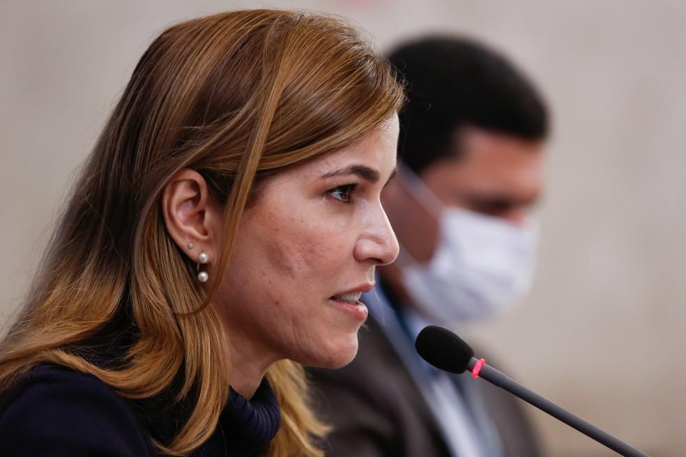A secretária Mayra Pinheiro, do Ministério da Saúde, durante entrevista no Planalto em junho de 2020 — Foto: Anderson Riedel/Presidência da República