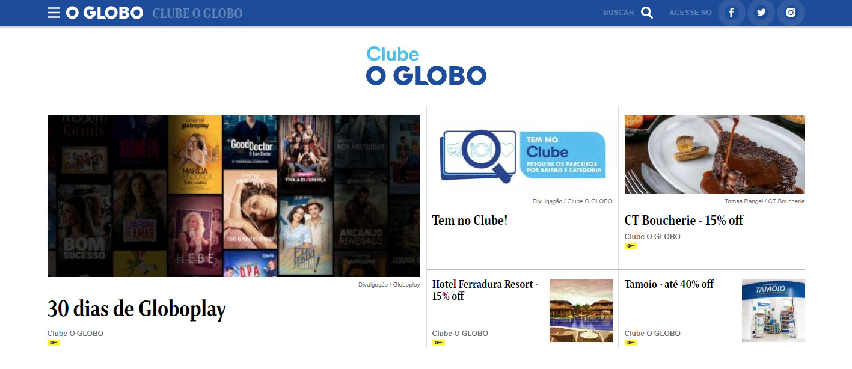 Confira o novo site do Clube O GLOBO