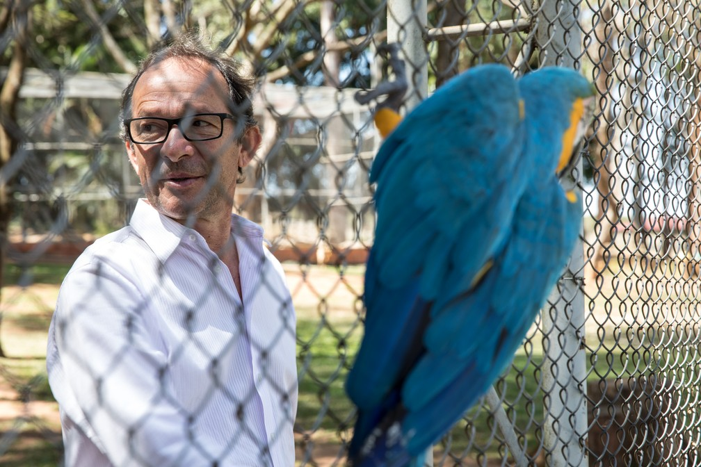 O diretor da escola Paulo Martini, no local onde funciona um mini zoológico (Foto: Fabio Tito/G1)