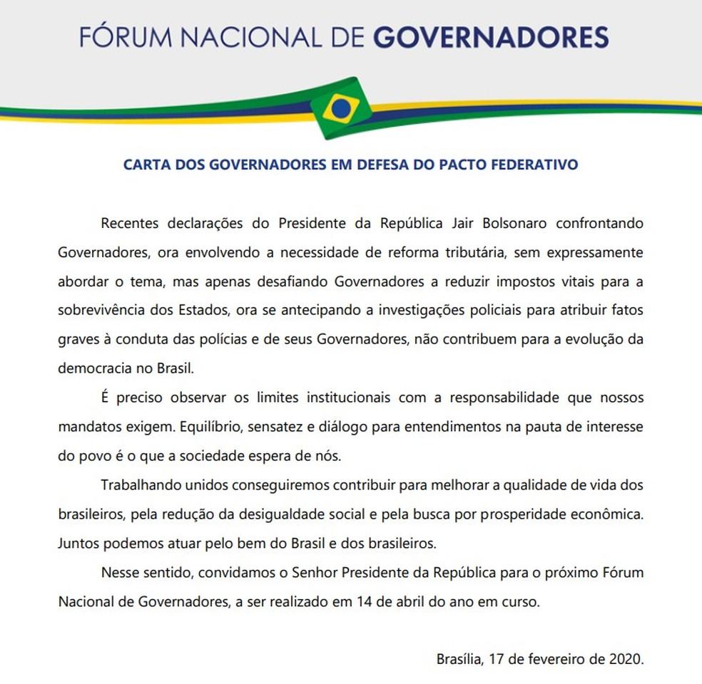 Carta de governadores enviada ao presidente Jair Bolsonaro — Foto: Reprodução