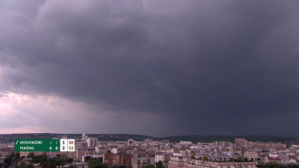 Céu pesado em Paris interrompe partidas — Foto: Reprodução
