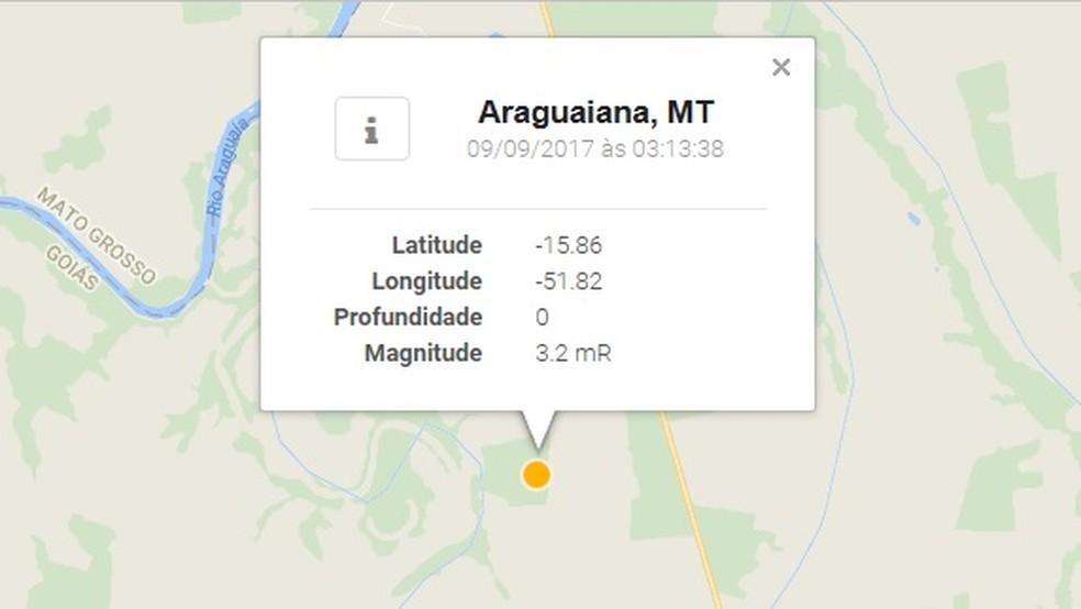 Abalo teve magnitude de 3,2 na escala Richter (Foto: Reprodução/ Obsis-UnB)