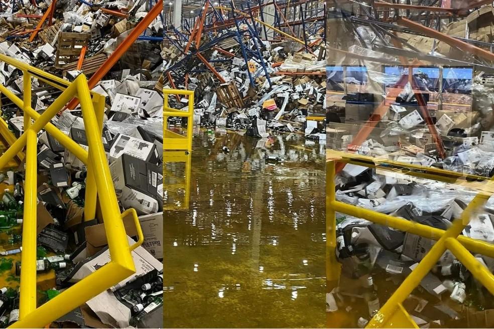 Paletes despencam de estrutura e causam acidente em fábrica na Grande Fortaleza. — Foto: Reprodução