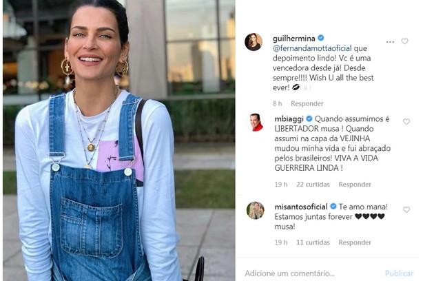 Guilhermina Guinle e, Marco Antonio de Biaggi, que também já teve câncer, confortaram Fernanda (Foto: Reprodução/Instagram)