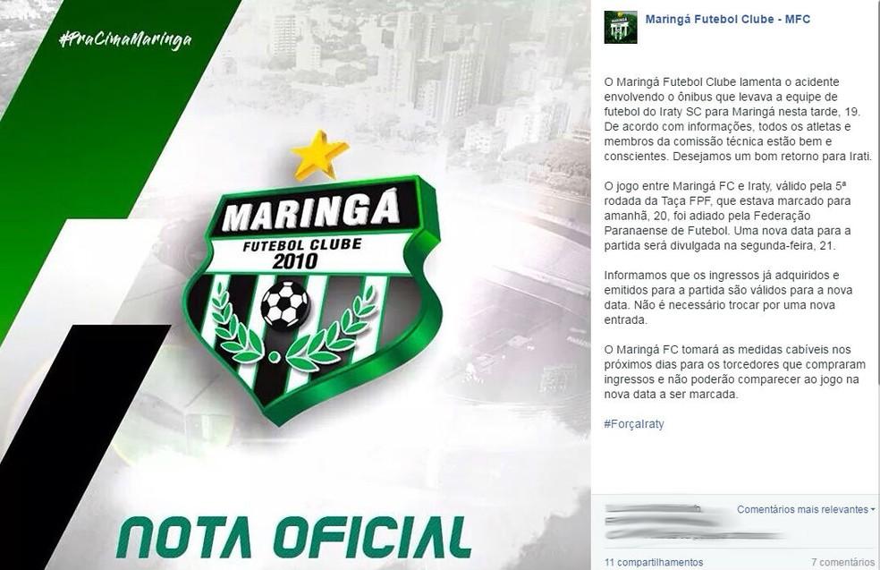 Maringá divulgou nota lamentando o acidente envolvendo o ônibus do Iraty (Foto: Reprodução)