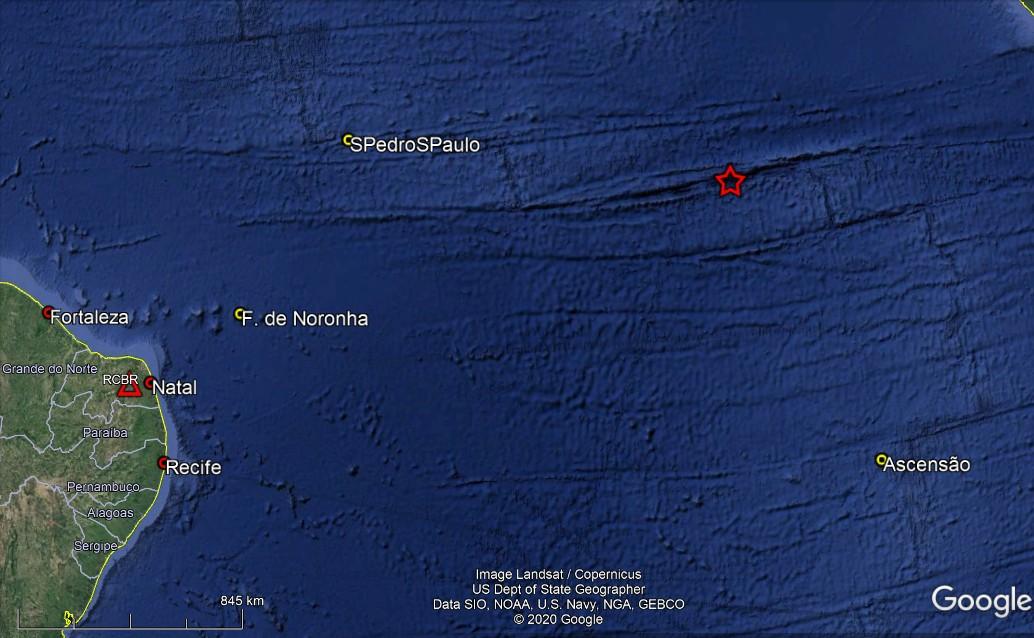 Laboratório Sismológico da UFRN registra novos tremores de magnitude 5.7 e 4.8 no Atlântico