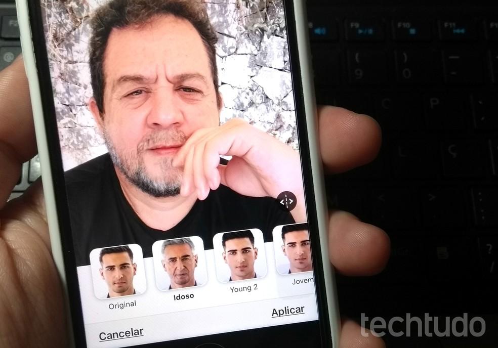 FaceApp, app com efeito de velho, chegou ao topo das lojas da Apple e do Android — Foto: Rodrigo Fernandes/TechTudo