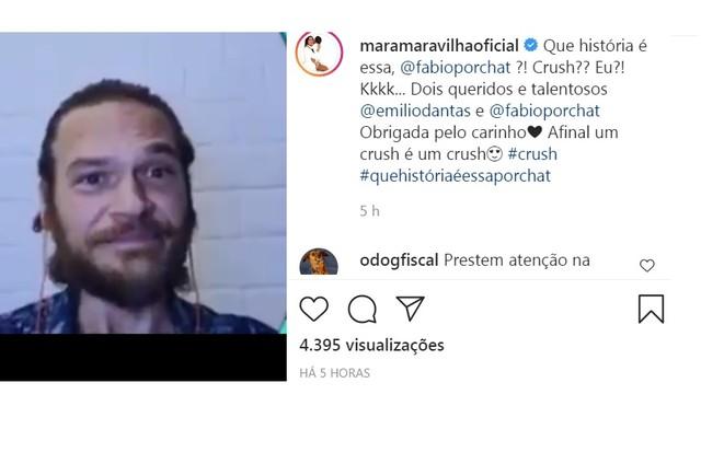 Mara Maravilha responde Emilio Dantas e Fabio Porchat após eles revelarem curiosidade (Foto: Reprodução/Instagram)