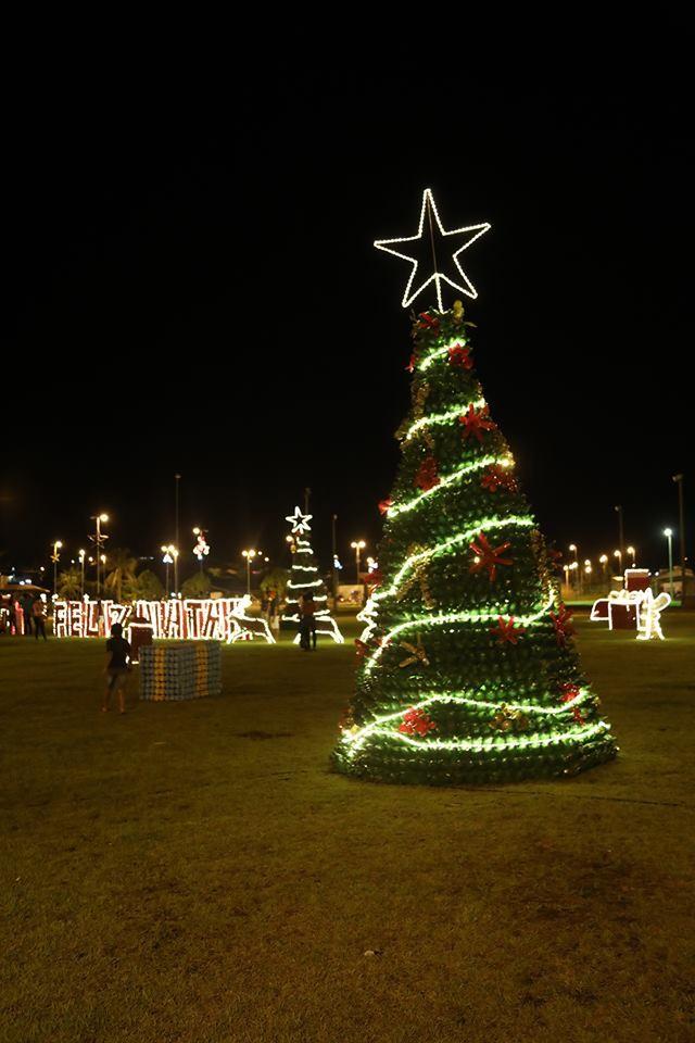 Milhares de garrafas pet são usadas na decoração natalina em Jaru, RO