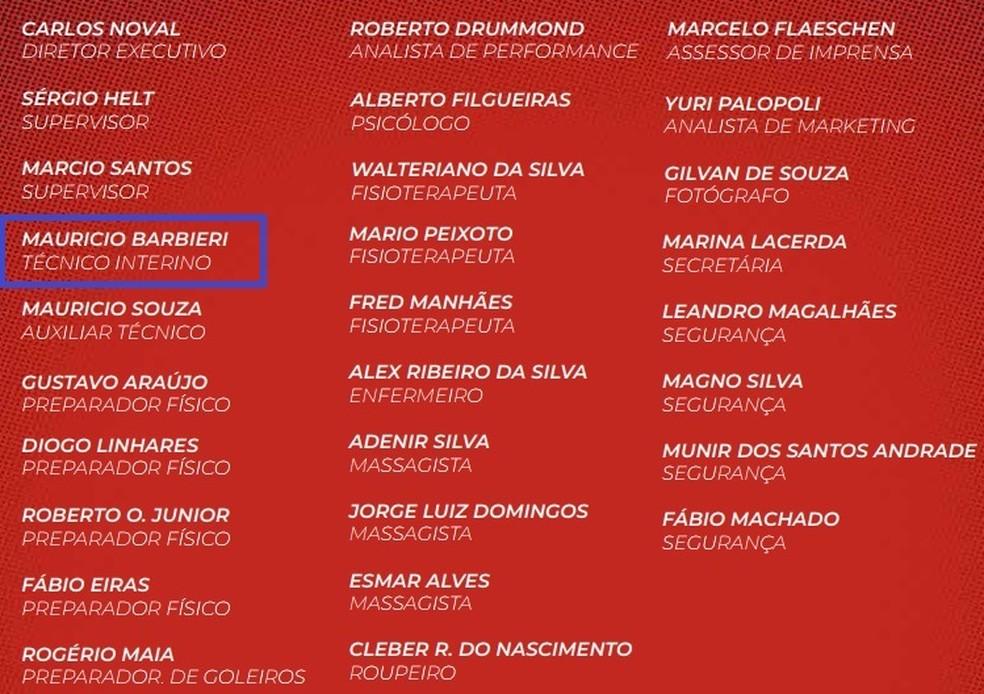 Treinador ainda é chamado de interino no material oficial do clube (Foto: Reprodução )