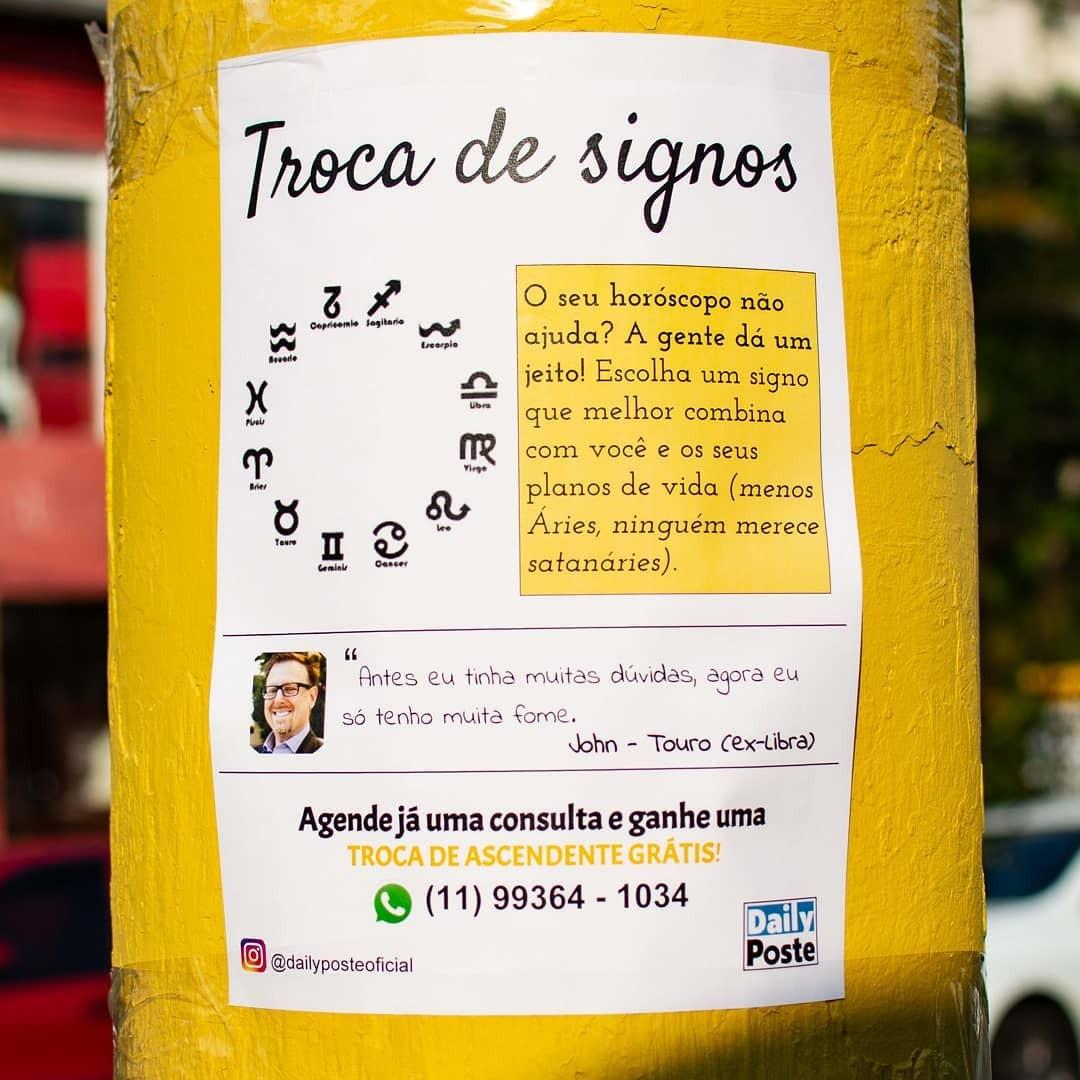 Anúncio de troca de signos do Daily Poste (Foto: Reprodução)