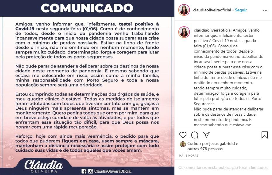 Prefeita de Porto Seguro, Cláudia Oliveira anuncia que testou positivo para a Covid-19