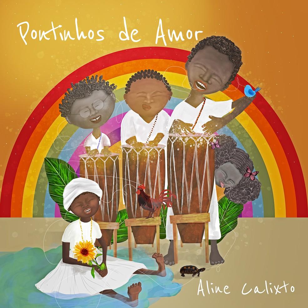 Capa do álbum 'Pontinhos de amor', de Aline Calixto — Foto: Divulgação