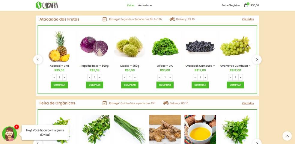 Onisafra oferece a venda de frutas, verduras, legumes, hortaliças e outros alimentos naturais em Manaus. — Foto: Reprodução