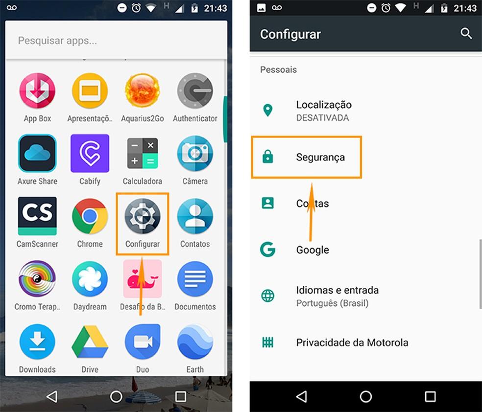 Abra as configurações de segurança no Android (Foto: Reprodução/Barbara Mannara)