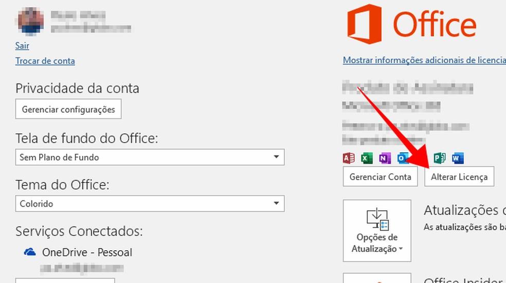 Altere o tipo de licença de um programa do Office — Foto: Reprodução/Paulo Alves