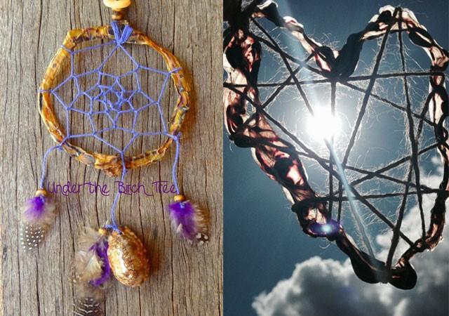 Filtro dos sonhos e lembrancinha de coração feitos com cordão umbilical (Foto: Reprodução)