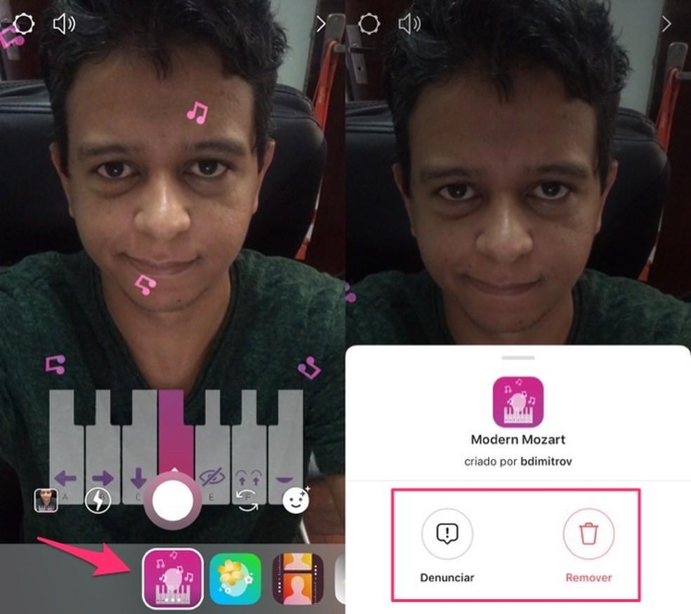 Ação para desinstalar do Instagram Stories o filtro desafio do piano — Foto: Reprodução/Marvin Costa