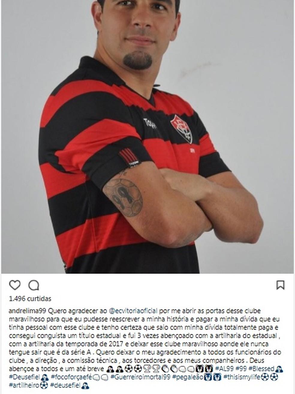 André Lima se despede do Vitória e afirma que