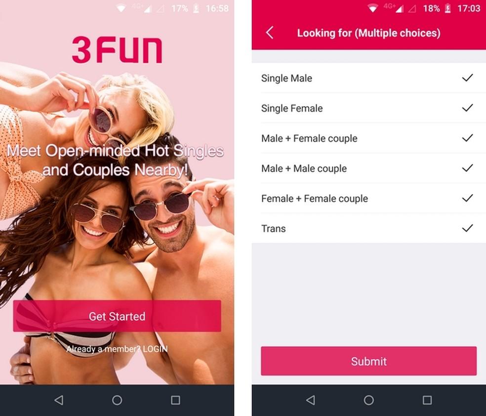 3Fun, app para sexo a três, tem versões para Android e iOS — Foto: Reprodução/Raquel Freire