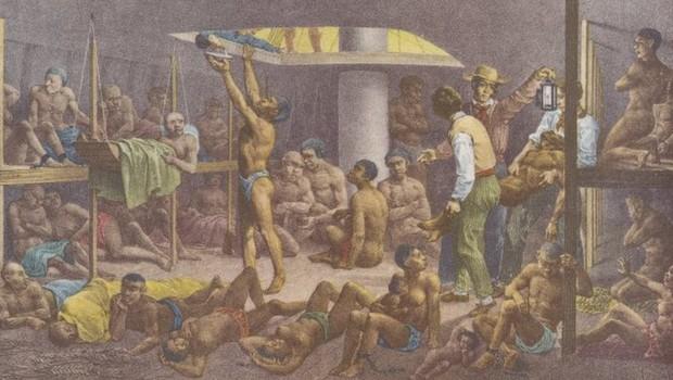 4,8 milhões de africanos foram transportados para o Brasil e vendidos como escravos, ao longo de mais de três séculos. Outros 670 mil morreram no caminho. (Foto: The New York Public Library Digital Collections via BBC)