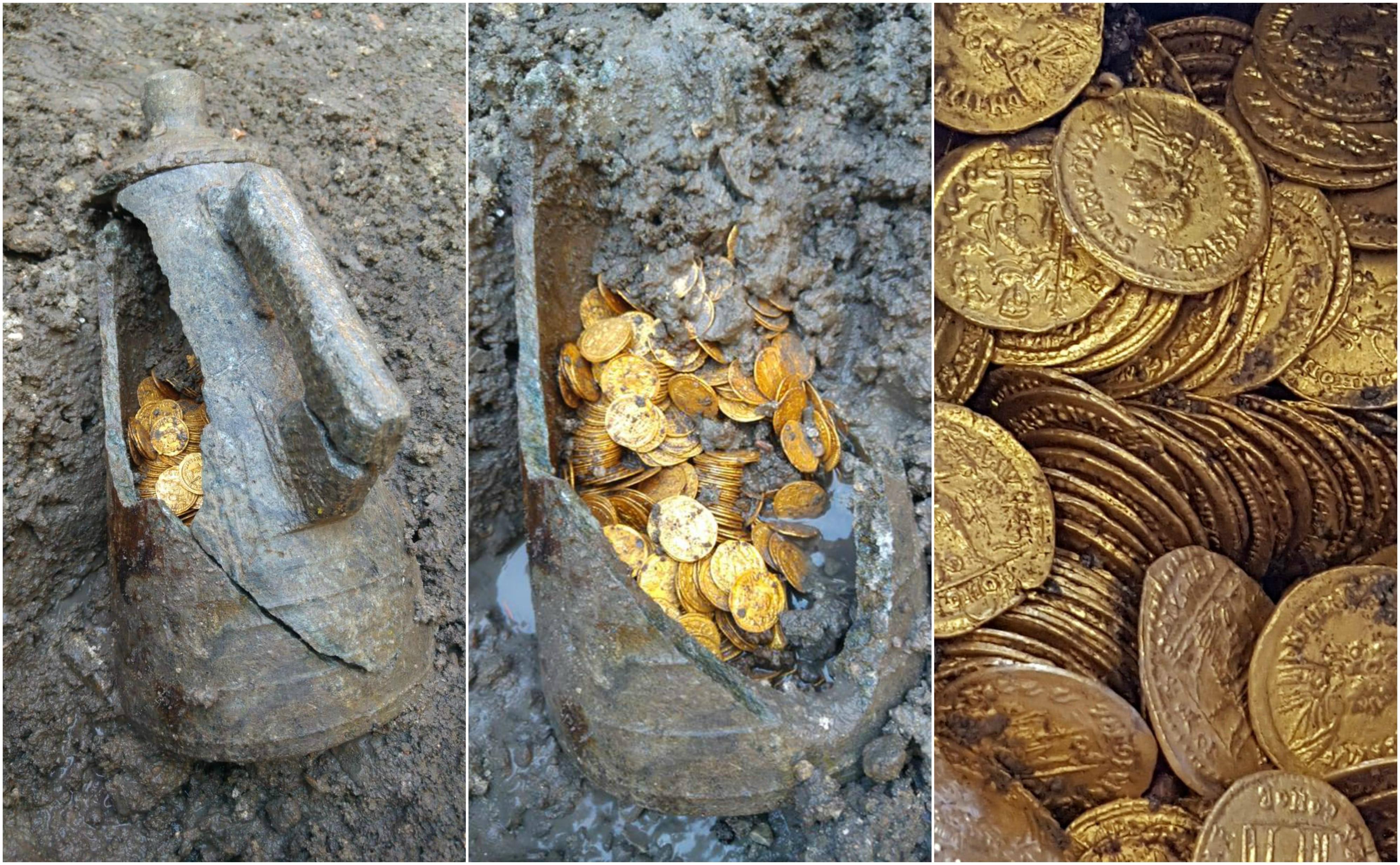 300 moedas de ouro encontradas dentro de ânfora na Itália. (Foto: Mibac)