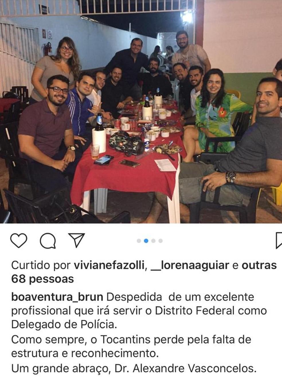 Confraternização foi realizada na noite de quarta-feira — Foto: Reprodução/Instagram