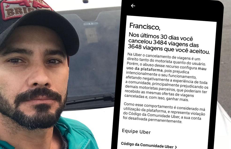 Francisco Peixoto Neto, de 33 anos, foi excluído da plataforma nesta semana — Foto: Arte/g1/Arquivo pessoal