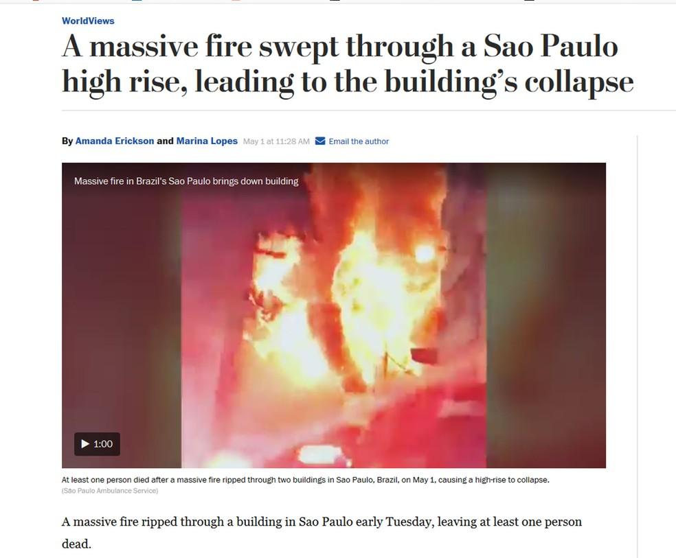 Washington Post mostra fogo consumindo prédio no Centro de São Paulo (Foto: Washington Post/Reprodução)