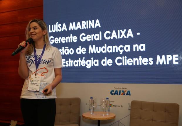 Luísa Woitexen, coordenadora de projetos da Caixa, palestra no FICE (Foto: Alexandre DiPaula)