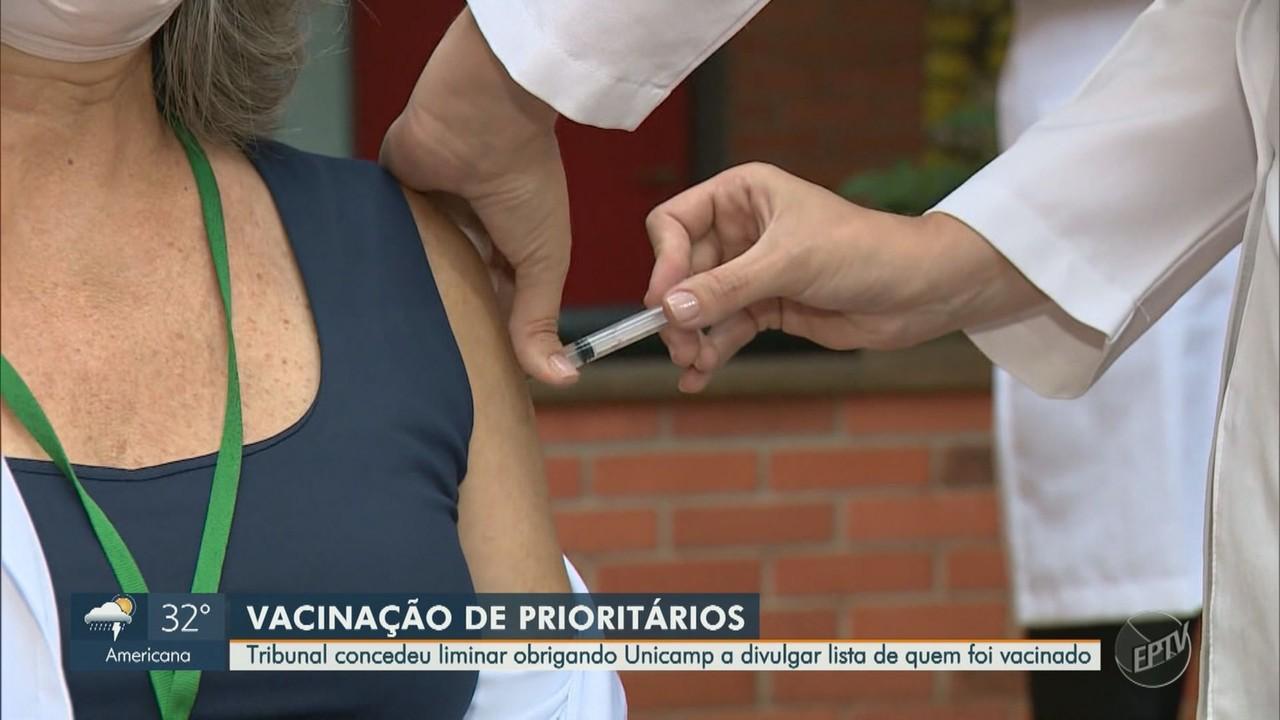 Justiça manda Unicamp divulgar lista de vacinados contra o novo coronavírus