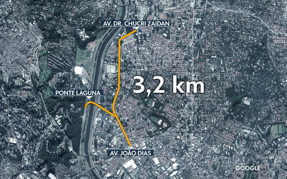 Mapa mostra o prolongamento da Avenida Chucri Zaidan (Foto: TV Globo/Reprodução)