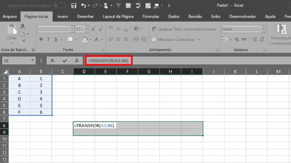 """Em seguida, escreva """"TRANSPOR(X:Y)"""", com """"X"""" e """"Y"""" indicando o início e o fim da tabela que será transposta (Foto: Reprodução/Daniel Ribeiro)"""