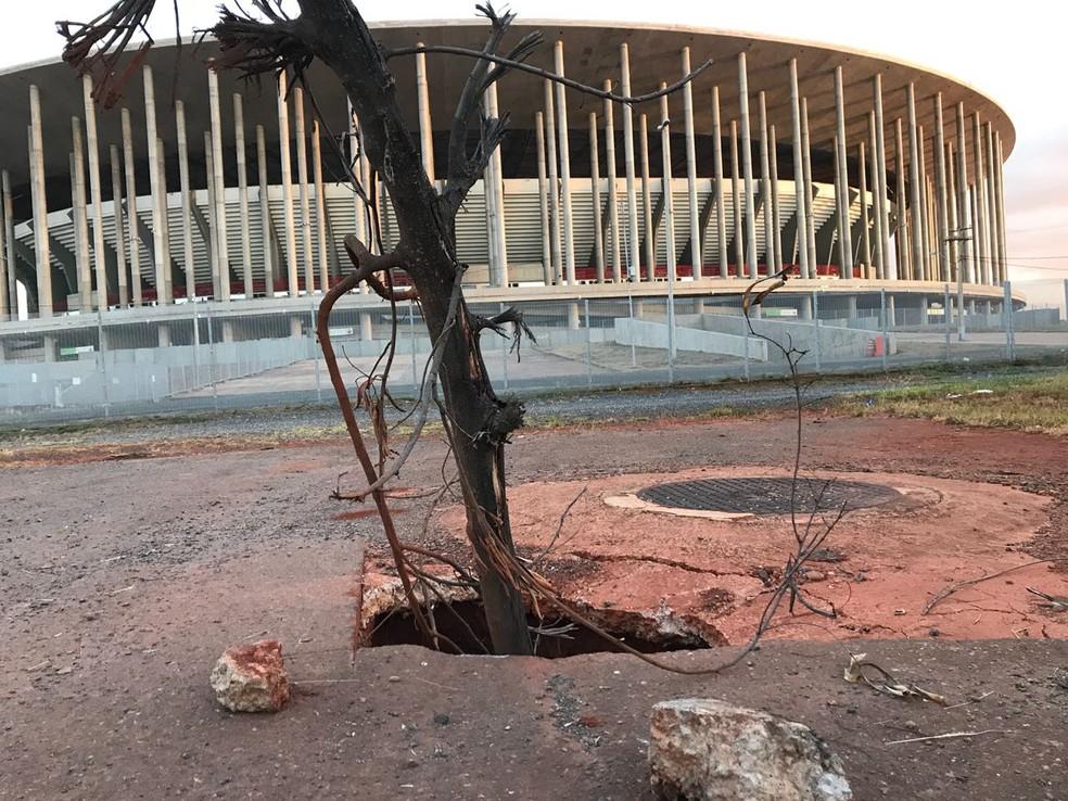 Entorno do estádio Mané Garrincha (Foto: Marcela Lemgruber/G1)