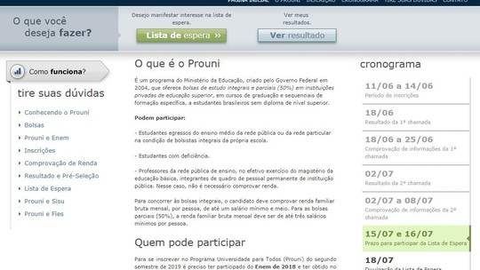 Foto: (Reprodução/Siteprouni.mec.gov.br)