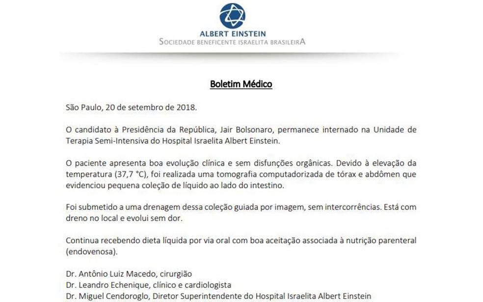 Boletim de Jair Bolsonaro divulgado na tarde desta quinta-feira (20) — Foto: Reprodução