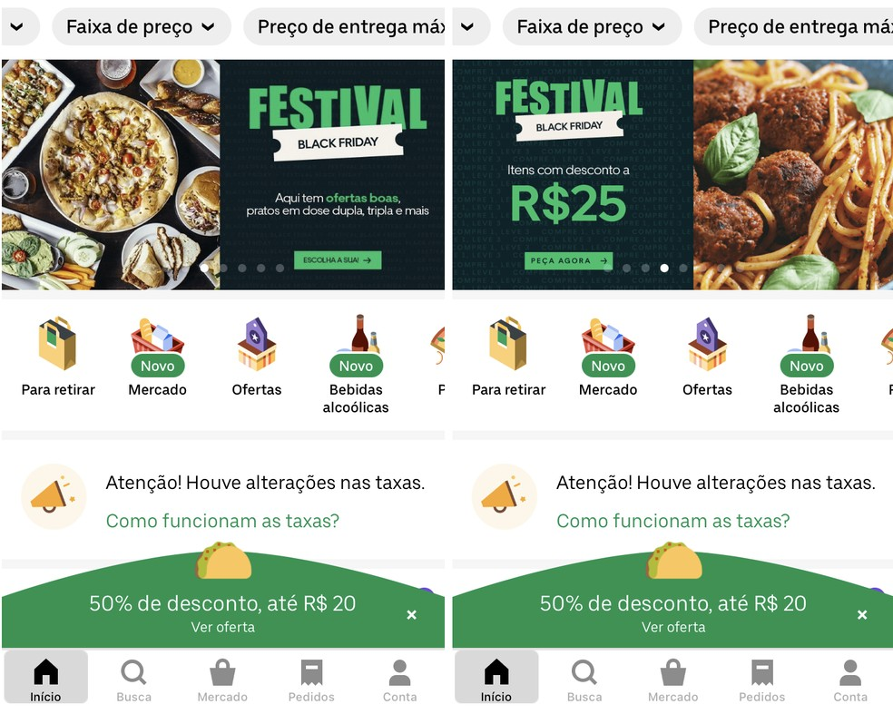 Ofertas da Black Friday são exibidas em destaque no Uber Eats — Foto: Reprodução/Rodrigo Fernandes