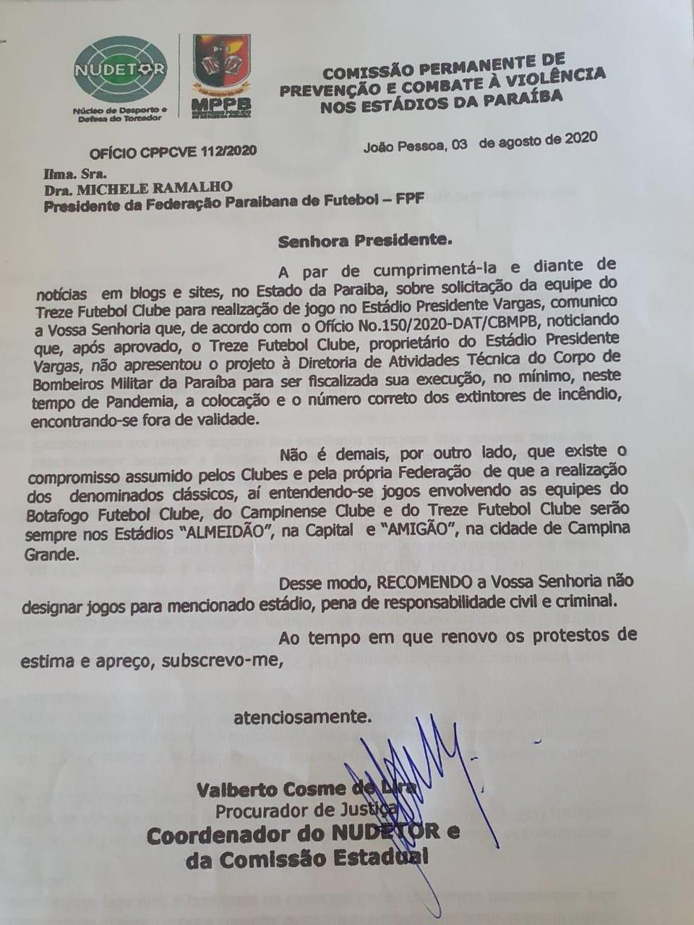 Ofício do Ministério Público da Paraíba à Federação Paraibana de Futebol — Foto: Divulgação / MPPB