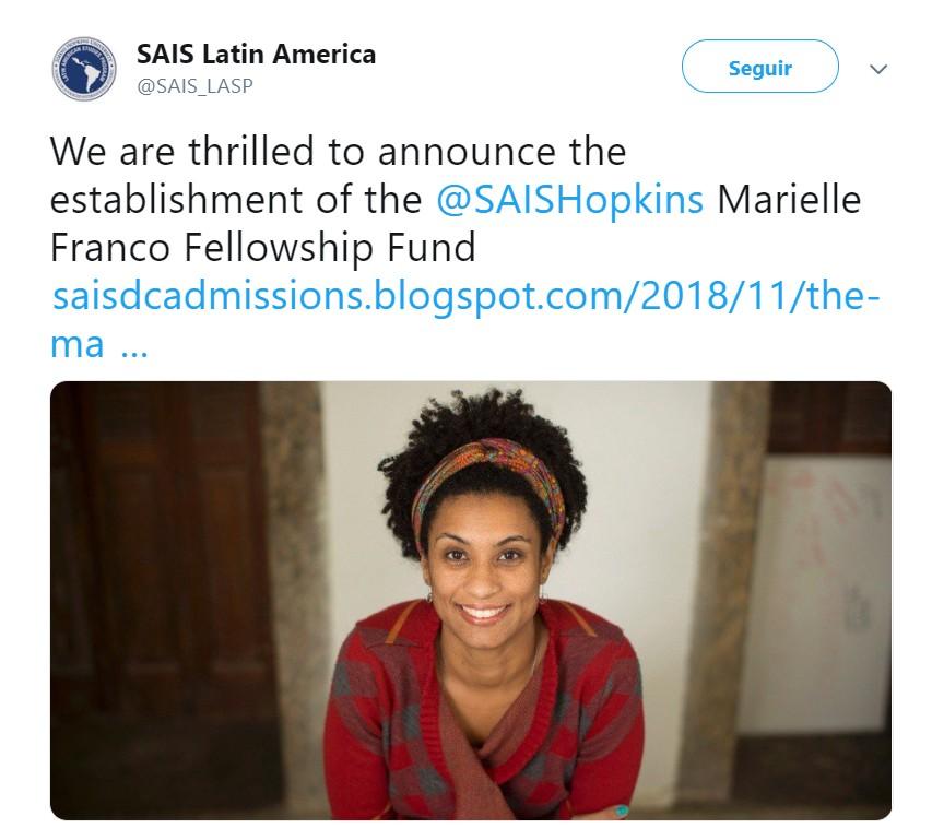 Escola da Universidade Johns Hopkins, nos EUA, anuncia bolsa homenageando Marielle Franco (Foto: Reprodução/Twitter)