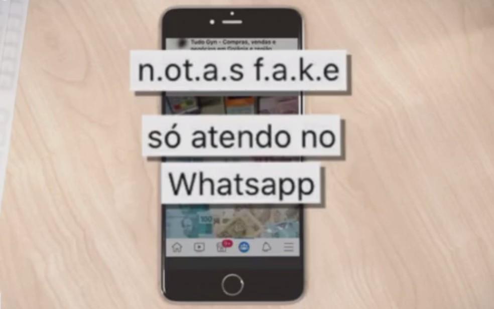 Criminoso anuncia venda de notas de dinheiro falsas pelas redes sociais — Foto: Reprodução/TV Anhanguera