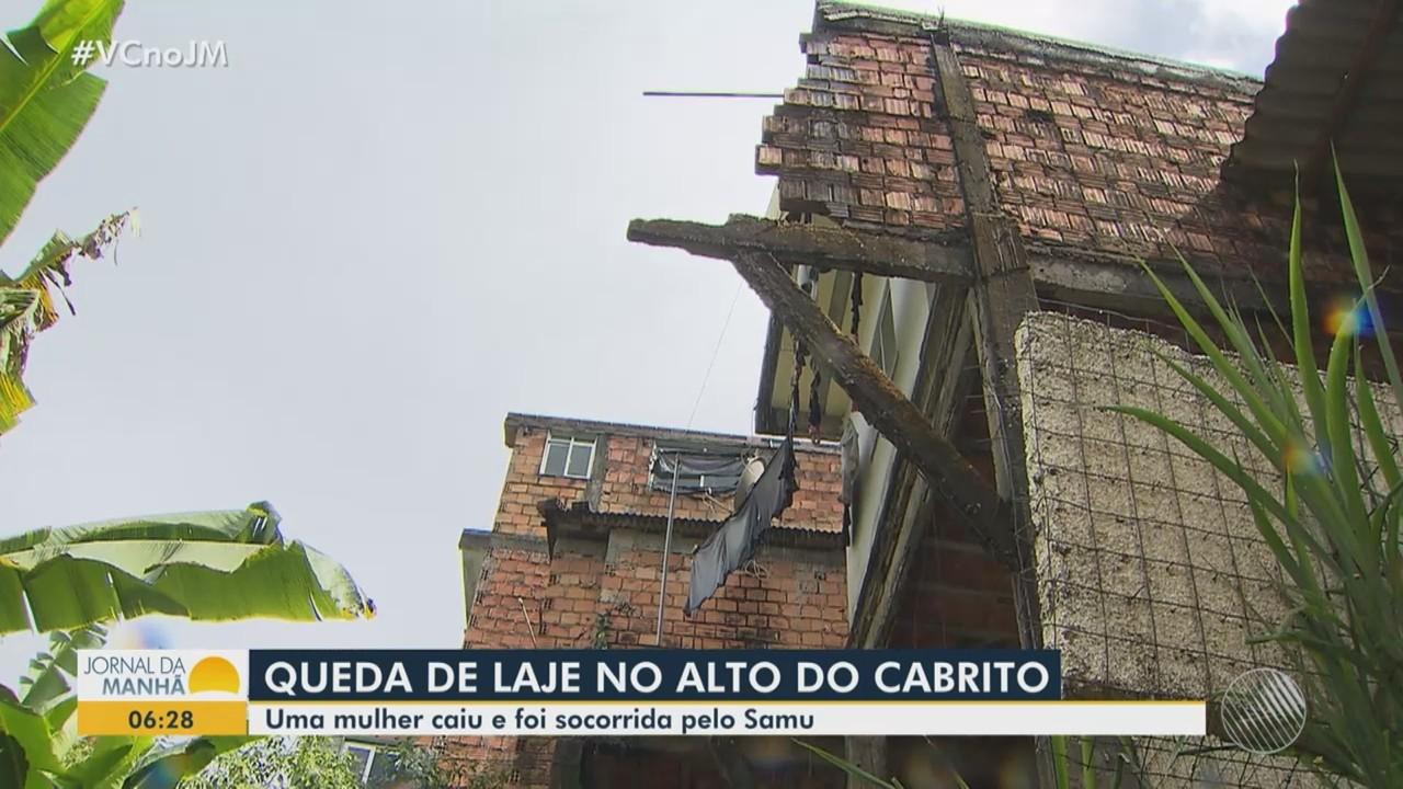 Mulher que se feriu após laje desabar no Alto do Cabrito caiu de uma altura de 7 metros