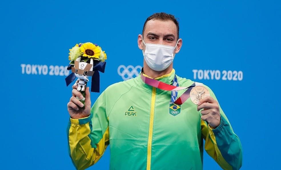Fernando Scheffer é medalha de bronze nos 200 metros livre em Tóquio — Foto: Satiro Sodré/SSPress/CBDA