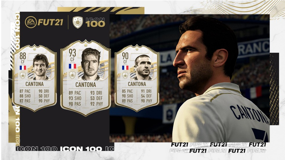 FIFA 21: a carta prime de Cantona está entre as três mais altas do novos ídolos — Foto: Divulgação/EA Sports