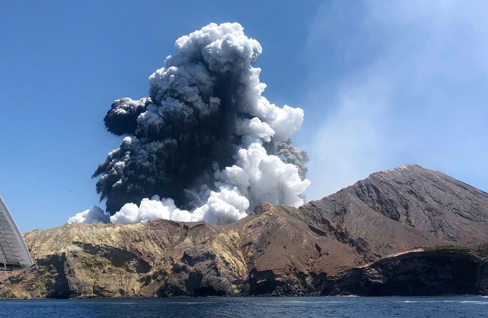 Vulcão da Ilha Branca, na Nova Zelândia, entrou em erupção na segunda-feira (9)   — Foto: Lillani Hopkins via AP