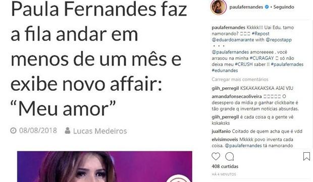 Post de Paula Fernandes desmentindo o suposto namoro (Foto: Reprodução/Instagram)