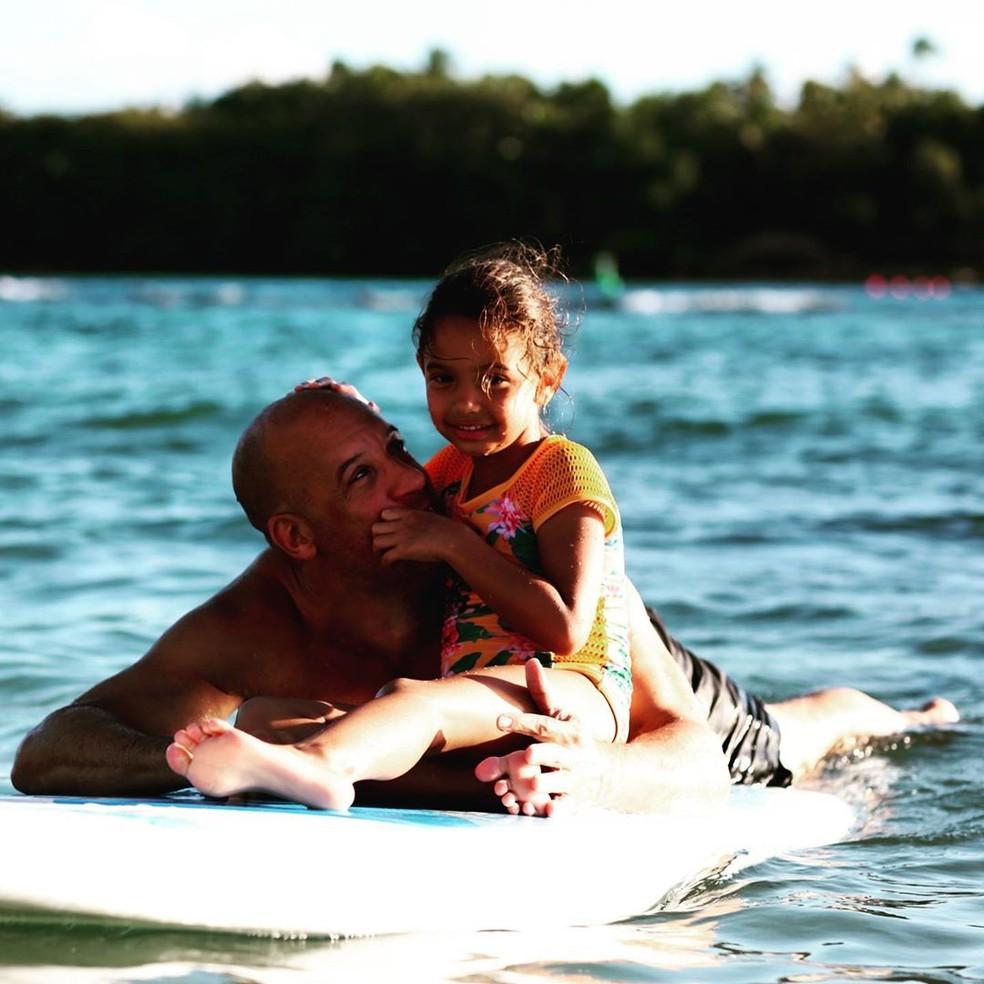 Vin Diesel com um dos filhos — Foto: Reprodução/Instagram