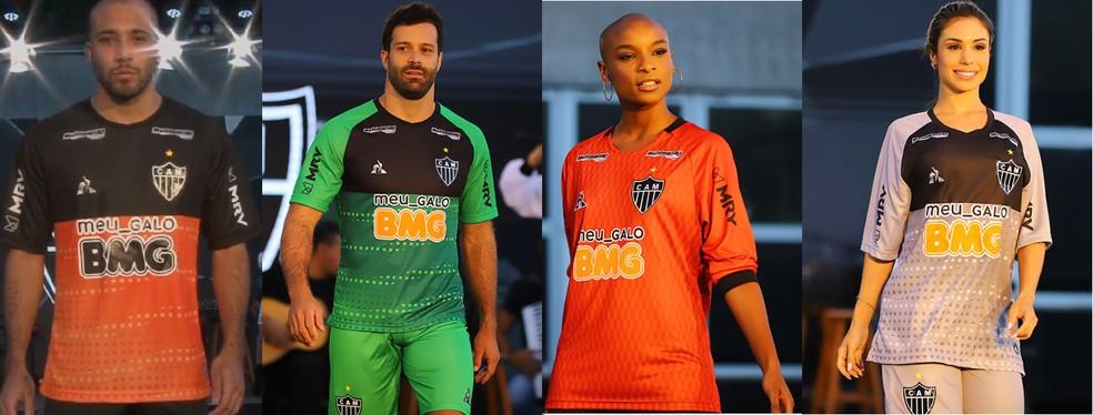 Camisas de goleiro do Atlético-MG (a terceira será usada nos treinos) — Foto: Reprodução/Youtube/TV Galo