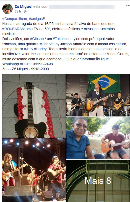 -  Cantor relatou roubo pelo facebook  Foto: Facebook/Reprodução