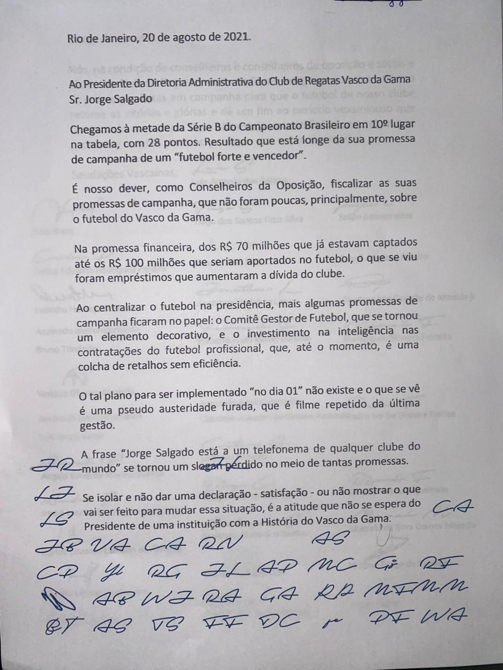 Carta Vasco 2 — Foto: Reprodução