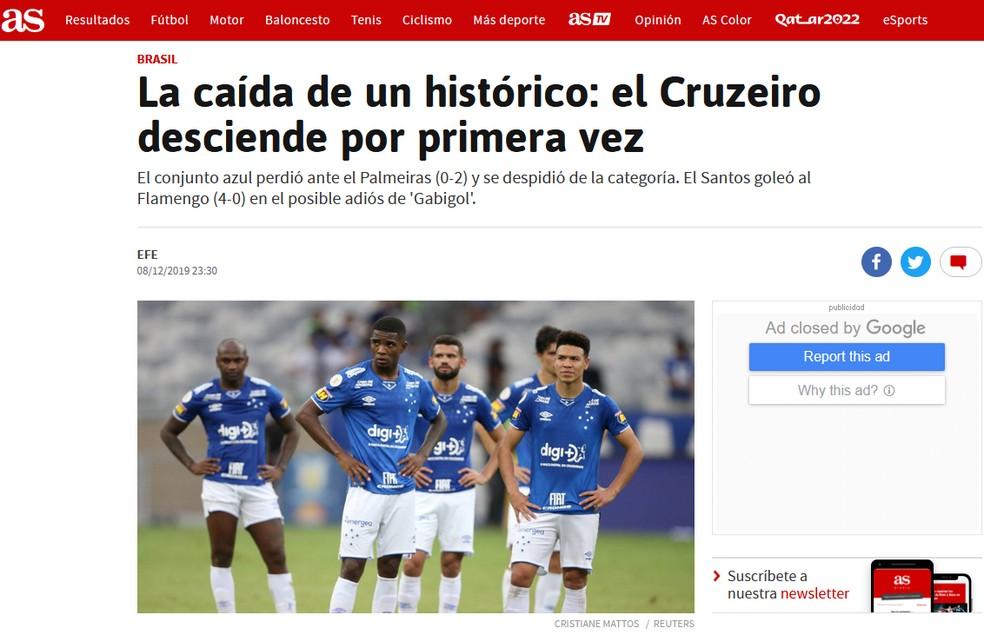 Jornal As, da Espanha, repercute rebaixamento do Cruzeiro — Foto: Reprodução